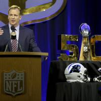 NFL commissioner Roger Goodell speaks at his annual Super Bowl news conference in San Francisco on Friday afternoon. | AP