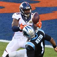 Broncos linebacker Von Miller tries to grab the loose ball after sacking Panthers quarterback Cam Newton during the first quarter of Super Bowl 50 on Sunday. | USA TODAY / REUTERS