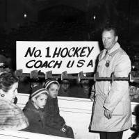 Then-U.S. Olympic hockey coach Jack Riley, seen in a Feb. 29, 1960, file photo, is welcomed back to the U.S. Military Academy at West Point, New York. Riley, a former Army hockey coach who guided the Americans to their first Olympic gold medal in 1960, has died. He was 95. | AP