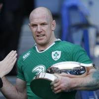 Former Ireland captain Paul O'Connell, seen in a February 2015 file photo, became only the fourth Irish player to win 100 caps. | REUTERS