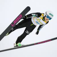 Sara Takanashi competes in the women's ski jumping HS 100 competition in Lahti, Finland, on Friday. Takanashi claimed her 12th victory of the season.   LAIHO/NORDICFOCUS/KYODO