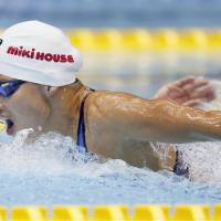 Sakiko Shimizu competes in the women's 400-meter individual medley on Saturday in the Konami Open. Shimizu completed the race in  4 minutes, 35.04 seconds. | KYODO