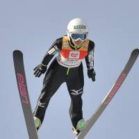 Sara Takanashi competes in a World Cup event on Saturday. Takanashi won to claim her ninth straight competition. | AFP-JIJI