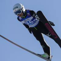 Sara Takanashi competes at a World Cup ski jumping event in Almaty on Friday. | REUTERS