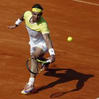Rafael Nadal plays a shot during his Argentina Open semifinal against Dominic Thiem in Buenos Aires on Saturday. | REUTERS