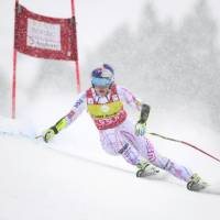 Lindsey Vonn competes in a Women's World Cup super-G event on Saturday. | AFP-JIJI