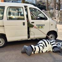Zookeepers check a zookeeper dressed as zebra during a drill at Ueno Zoo. | AFP-JIJI