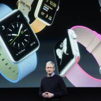 Tim Cook, chief executive officer of Apple Inc., speaks during an Apple event in Cupertino, California, Monday. | BLOOMBERG