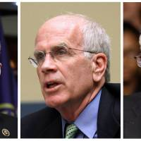 This combo of file photos shows (from left) U.S. Reps. Lloyd Doggett and Peter Welch, and Sen. Bernie Sanders. Pharmaceutical company Medivation is being targeted by lawmakers over drug pricing. Doggett, Welch and Sanders have urged the Department of Health and Human Services and the National Institutes of Health to step in to cut prices for the drug Xtandi, saying it costs four times more in the U.S. than it does outside the country. | AP