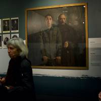 The painting 'May Down' by artist Sean Keating, depicting the morning of the execution of Edward Daly, the commander of Dublin's 1st battalion during the Easter Rising of 1916, hangs on display at the exhibition 'Proclaiming a Republic: the 1916 Rising' at the National Museum of Ireland in Dublin on Wednesday. | AFP-JIJI