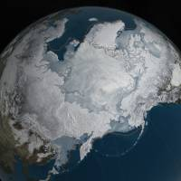 This image provided by NASA shows Arctic sea ice at its maximum, the lowest on record. The winter maximum level of Arctic sea ice shrank to the smallest on record, thanks to extraordinarily warm temperatures, federal scientists said. The National Snow and Ice Data Center says sea ice spread to a maximum of 5.607 million sq. miles in 2016. That's 5,000 sq. miles less than the old record set in 2015, a difference slightly smaller than the state of Connecticut. | NASA VIA AP