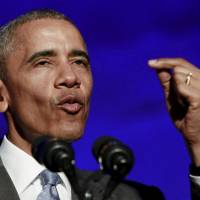 U.S. President Barack Obama delivers the keynote address at the awards dinner for Syracuse University's Toner Prize for Excellence in Political Reporting in Washington on Monday. | REUTERS