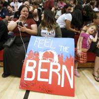 Supporters wait for the arrival of Democratic U.S. presidential candidate Bernie Sanders at a campaign rally in Salt Lake City, Utah, Monday. | REUTERS