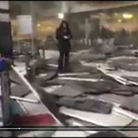 A video uploaded by a Twitter user shows extensive damage caused by two bomb blasts inside Brussels airport.