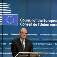 Belgian Justice Minister Koen Geens talks to the media at the end of an Extraordinary meeting of ministers for Justice and Security and representatives of the EU institutions at the European Council headquarters in Brussels Thursday. | AFP-JIJI