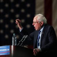 Democratic presidential candidate Sen. Bernie Sander speaks at a campaign rally at the Phoenix Convention Center in Phoenix, Arizona, Tuesday. | AP