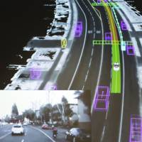 Video captured by a Google self-driving car coupled with the same street scene as the data is visualized by the car during a presentation at a media preview of Google's prototype autonomous vehicles in Mountain View, California, in September 2015.  Britain said on March 12 it will begin trialing driverless cars on expressways for the first time in 2017. | REUTERS