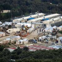 A picture shows a view of the Moria camp for migrants and refugees on the Greek island of Lesbos on Sunday. | AFP-JIJI