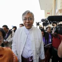 Writer and academic Htin Kyaw arrives at the parliament in Naypyitaw on Feb. 1. | REUTERS