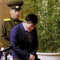 Kim Tong Chol, a U.S. citizen detained in North Korea, is presented to reporters in Pyongyang on Friday.   AP