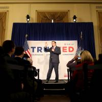 Republican U.S. presidential candidate Ted Cruz speaks during a rally in New York Wednesday. | REUTERS