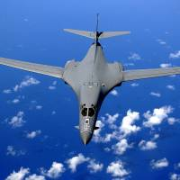 A U.S. Air Force B-1 bomber drops back after air-refueling training in September 2005.   STAFF SGT. BENNIE J. DAVIS III / UNITED STATES AIR FORCE