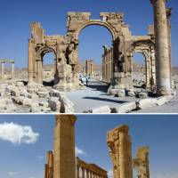 A combination of images shows a general view (top) taken in 2010 of the Arc de Troimphe (Triumph's Arc) prior to its being destroyed by Islamic State group jihadis in October, and the remains of the iconic structure after government troops recaptured the ancient city of Palmyra Sunday. Archaeologists were rushing to the ancient city to assess the damage wreaked by the Islamic State group, after it was ousted by the Syrian army in a bloody battle. | AFP-JIJI