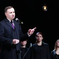 Polish President Andrzej Duda speaks at the March 17 opening of a new museum dedicated to Poles killed for helping Jews during World War II, in Markowa, Poland. Duda, a key figure in Poland's new nationalistic and conservative leadership, is behind new historical policies that aim to highlight Polish heroism of the past. | AP