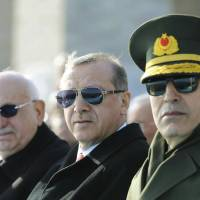 Turkish President Tayyip Recep Erdogan (center) attends a ceremony to mark the 101st anniversary of the Battle of Canakkale, part of the World War I Gallipoli campaign, in Canakkale, Turkey, on Friday. | REUTERS