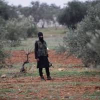 An armed member of al-Qaida's Syria wing, Nusra Front, stands in an olive grove near villages in Idlib province seized from Syrian rebel factions, in December 2014. | REUTERS