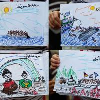 A combination of pictures taken Friday shows drawings made by an 8-year-old child from Aleppo, Syria, depicting her experiences during the exodus from her country at a makeshift camp on the Greek-Macedonian border. | AFP-JIJI