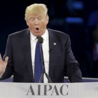 Republican U.S. presidential candidate Donald Trump addresses the American Israel Public Affairs Committee (AIPAC) afternoon general session in Washington Monday. | REUTERS