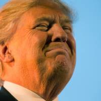 Republican presidential candidate Donald Trump pauses during while speaking at a Feb. 27 rally in Millington, Tennessee. Tough talk about torture is a guaranteed applause line for Trump on the GOP presidential stump. Trump has repeatedly advocated waterboarding, an enhanced interrogation technique that simulates the feeling of drowning. | AP