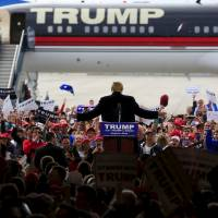 U.S. Republican presidential candidate Donald Trump speaks at Dayton International Airport in Dayton, Ohio, on Saturday. | REUTERS