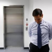 Republican presidential candidate Sen. Marco Rubio waits to speak at a campaign rally at Palm Beach Atlantic University in West Palm Beach, Florida, Monday. | AP