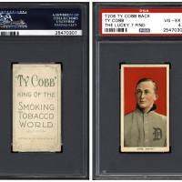 The front and back of a rare T206 Ty Cobb baseball card, one of the recently discovered 'The Lucky 7 Find' cards that were authenticated, is seen in an undated photo provided by Professional Sports Authenticator. Seven rare, identical Ty Cobb baseball cards more than a century old were found weeks ago inside a torn paper bag on the floor a house, marking one of the most remarkable discoveries in the world of sports collectables, a leading expert in California said Thursday. | REUTERS / PROFESSIONAL SPORTS AUTHENTICATOR / HANDOUT VIA REUTERS