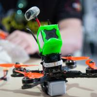 A drone at the World Drone Prix drone racing championship in Dubai on March 12. Prime Minister Shinzo Abe's ruling coalition had been seeking early enactment of the drone bill to strengthen anti-terrorism measures ahead of the G-7 summit in Mie Prefecture in late May. | BLOOMBERG
