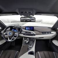 The interior of the BMW i8 Mirrorless car. The surrounding views are displayed on a monitor attached to the inside of the windshield, where the rear-view mirror is usually located. | COURTESY OF BMW JAPAN CORP.