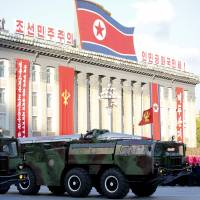 Missiles are paraded in October during a military parade during celebrations to mark the 70th anniversary of North Korea's Workers' Party. | AP