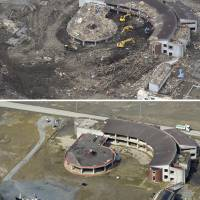The city of Ishinomaki, Miyagi Prefecture, is considering preserving Okawa Elementary School, seen nearly two weeks after the 3/11 disaster (above) and on Feb. 28, 2014 (below). | KYODO