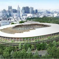 The cauldron location at the new National Stadium, seen in this artist's projection, is under review amid fears the wooden interiors could breach fire laws. | KYODO