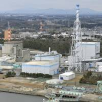 The Pacific Egret, which is expected to carry plutonium to the U.S., is docked in Tokai, Ibaraki Prefecture, on Monday as Japan Atomic Power Co.'s Tokai No. 2 nuclear power plant looms in the background. | KYODO