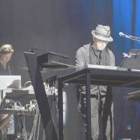 On stage: Ryuichi Sakamoto (front) and Christian Fennesz perform with YMO at the Fuji Rock Festival in 2011. | JAMES HADFIELD