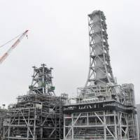 Two generators begin test operations at Tohoku Electric Power Co.'s new thermal power station fired by liquefied natural gas in Sendai in July 2015. | KYODO