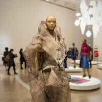 Horsehair: A horsehair jacket and shirt from Issey Miyake's 1990 autumn/winter collection is seen in an installation view from 'Miyake Issey Exhibition: The Work of Miyake Issey' at The National Art Center, Tokyo. | JOHN L. TRAN