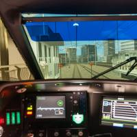 The view from inside a shinkansen simulator at SCMAGLEV and Railway Park.   MARK ANDREWS