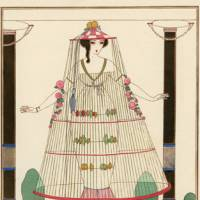 'Pleasure in the History of Fashion' at the Setagaya Art Museum (left to right): ?Charles Martin's 'The Birdcage: Fancy Costume by Paquin' from 'Gazette de bon ton' (February 1913); Louis-Marie Lante's 'Costumes of Parisian' from 'Journal des dames et des modes' (March 30, 1833) | COLLECTION OF KOBE FASHION MUSEUM (LEFT)