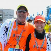 Sara Barraza (pictured with brother Richard), Housewife, 56 (Chilean): I didn't like the fact that I couldn't bring my own drinks, to be honest, as I only have one kidney and it is important to drink a lot of water. That said, it is one of the best-organized marathons 