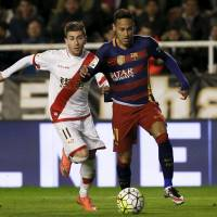 Barcelona's Neymar controls the ball during a Spanish League match against Rayo Vallecano on March 3, in Madrid. | REUTERS