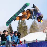 Taku Hiraoka competes during the U.S. Open snowboarding event on Saturday in Vail, Colorado. Hiraoka finished third. | KYODO